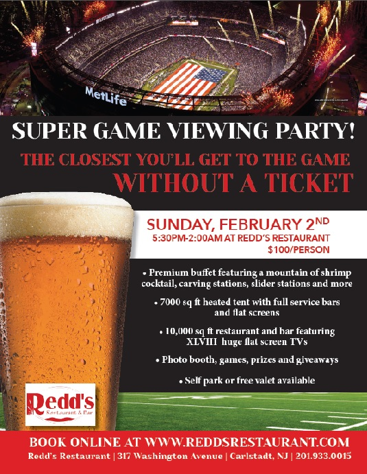 Redds Super Game Party Flyer